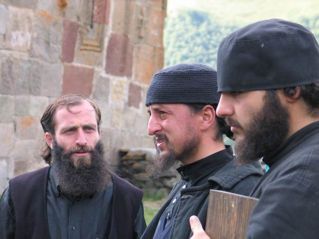 Orthodox monks at the monastery close to Kazbek, Georgia