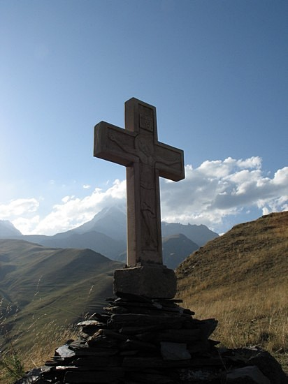 Near the Holy Trinity Church in Kazbegi