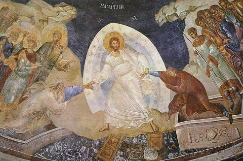 Freska Vaskrsenja Gospodnjeg u manastiru Hora/Fresco of Resurrection of Our Lord in Monis tis Choras