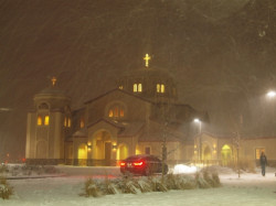 angus  St Luke Church in a heavy snow storm the Wednesday beforethe Nativity  2011-12-22 08:50:31
