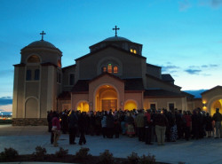 angus  Procession and Service at the Front door Prior to Pascha Liturgy at SUnrise  2012-04-19 01:42:49