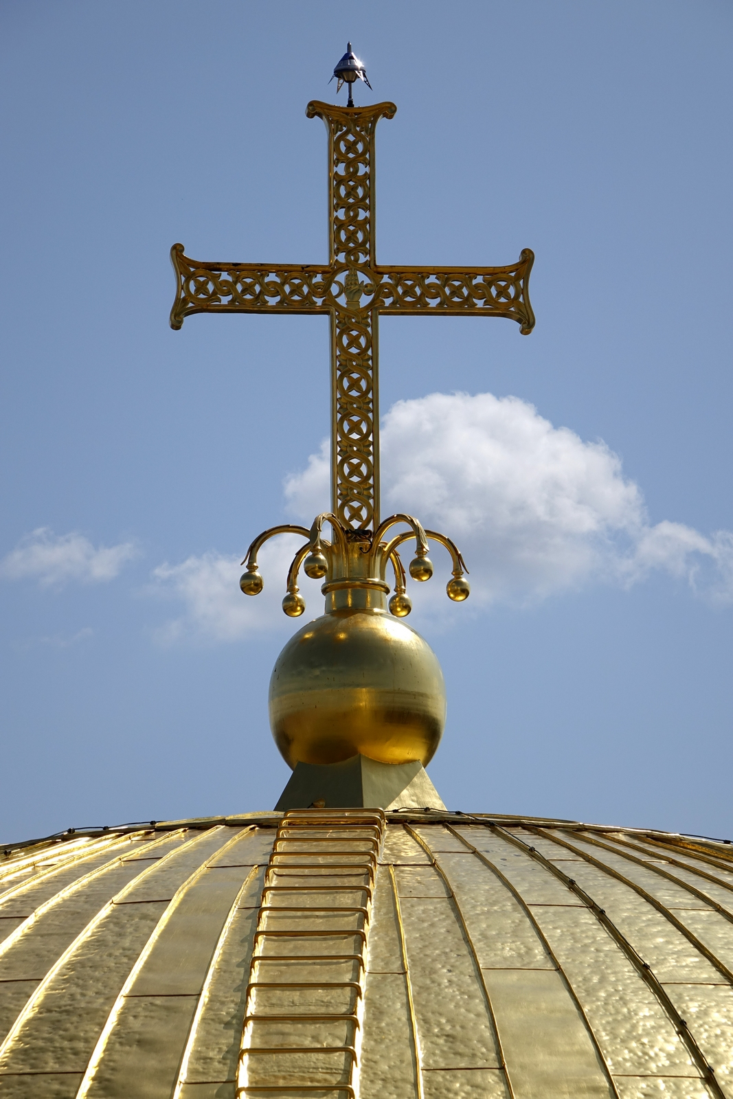 The cross over the dome of St. Alexander NEvski Cathedral