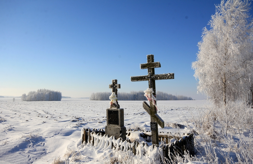 The Orthodox crosses close to Morze