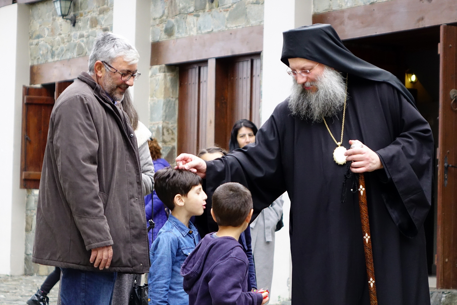Bishop&#039s blessing in Machairas monastery...