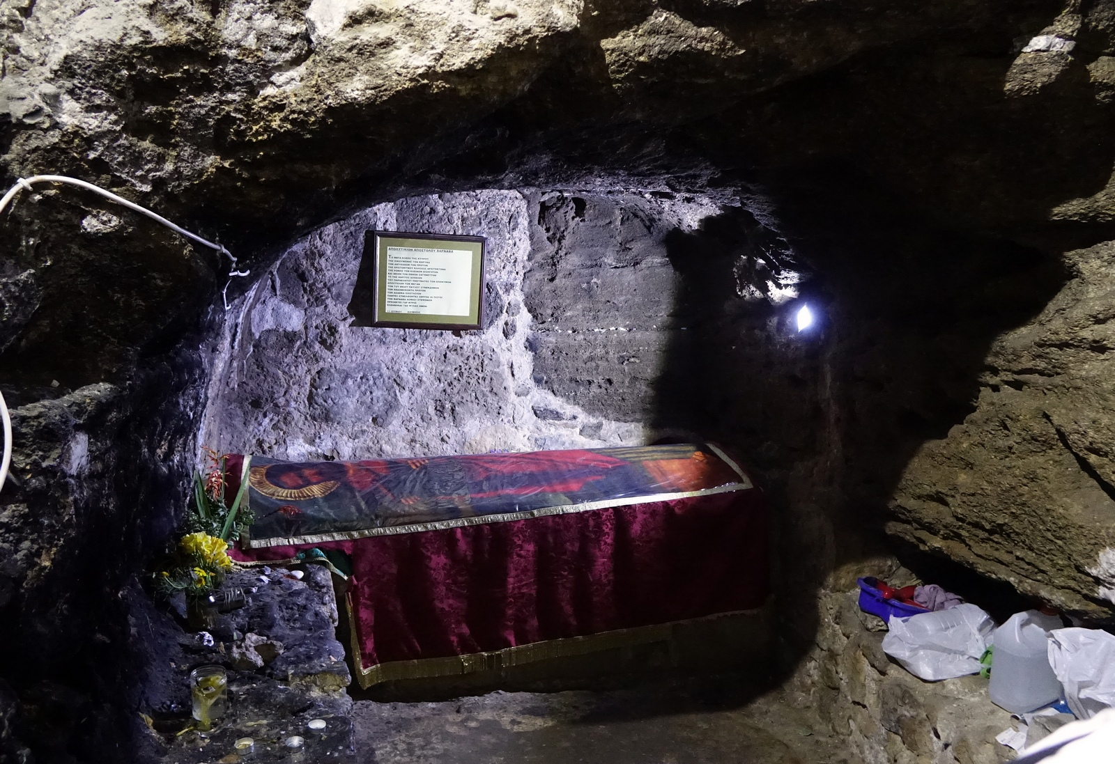 The cave of Apostle Barnaba close to St. Barnaba monastery on occupied aries