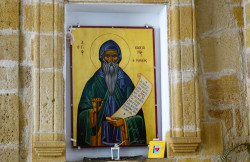 jarek11   St. Kassian icon in fromnt od the church dedicated to him in Nikozja