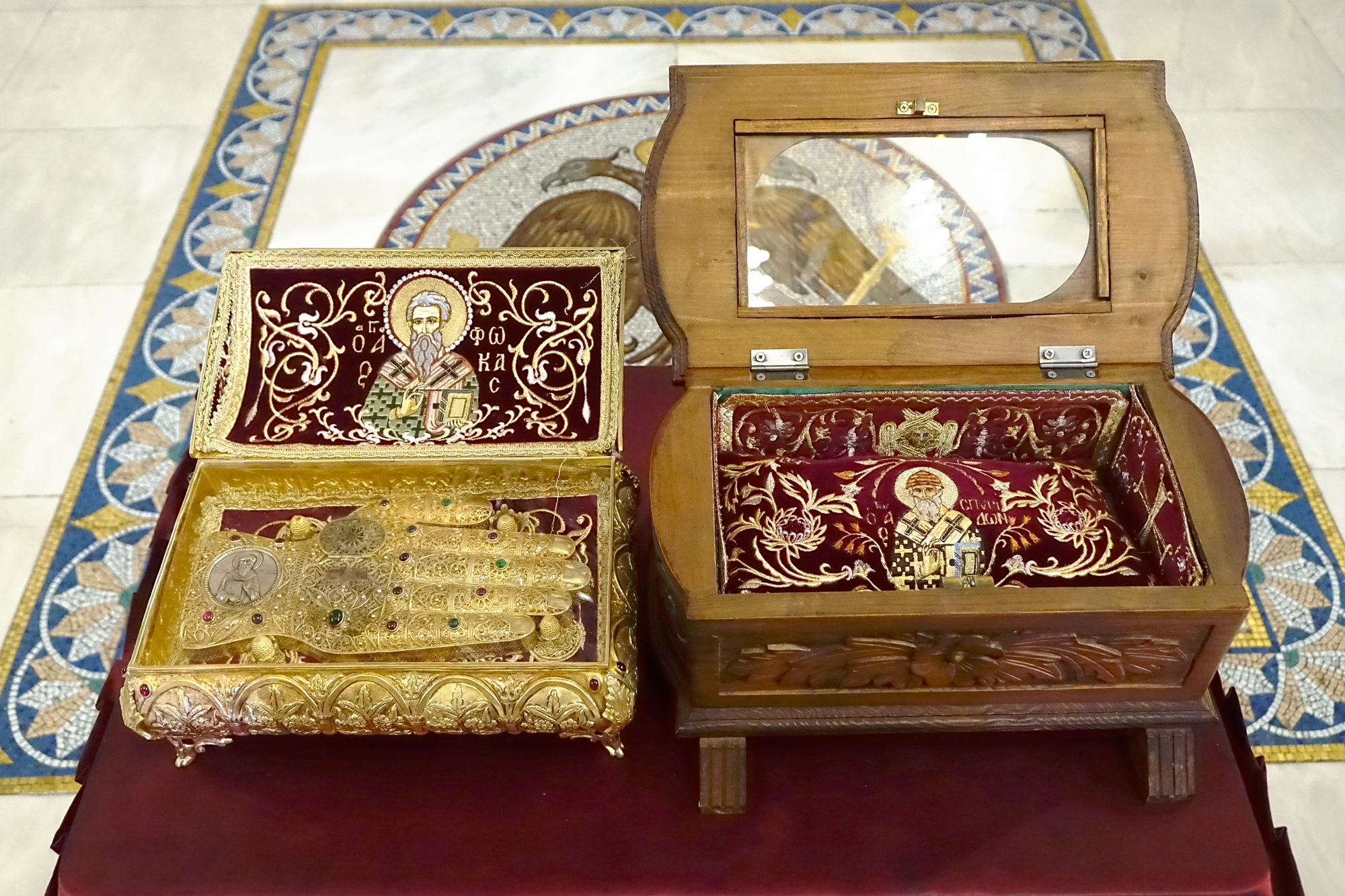 Relics of Sts. Fikas and Spiridon in Chriselousa Icon the Mother of God Orthodox church in Athieno
