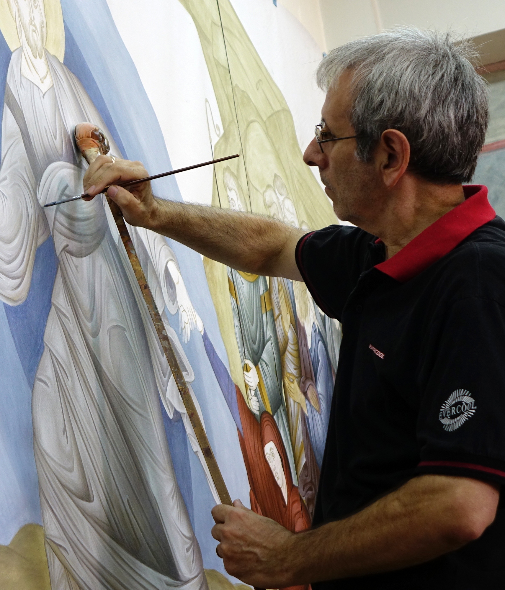 Albanian iconographer at work
