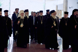 Sheep1389   Entrance of Antiochian patriarch John and Serbian Irinej to the Theological Institute