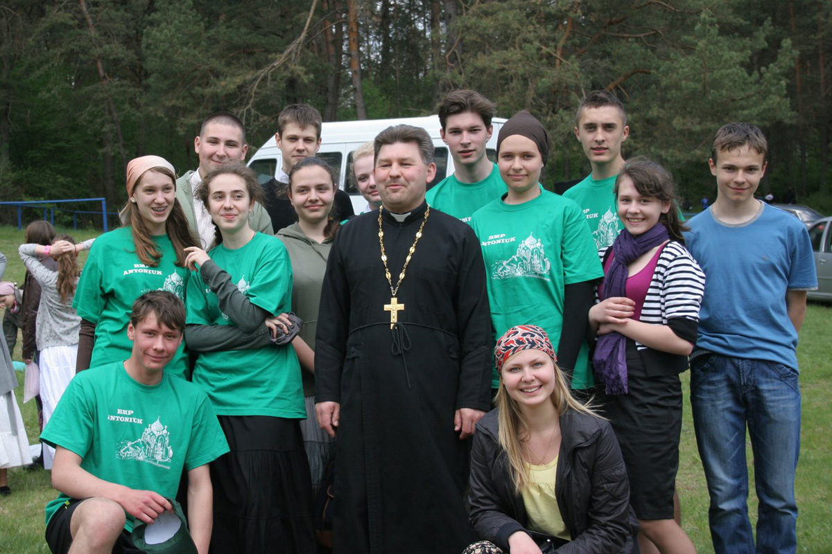 fr. Andrew with his parish fellowship